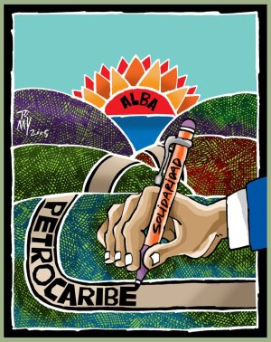 """Graphic art depicting the sunrise over the Caribbean, with the Bolivarian Alliance for the Peoples of Our America (ALBA) as the sun and Petrocaribe as the road uniting different islands, written with a pen labeled """"solidarity.""""   (Signed by artist/ Dominican News Online)"""