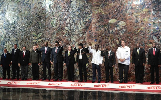 Leaders of the ALBA member states at the XIII ALBA TCP summit in Havana, Cuba (prensa presidencial)