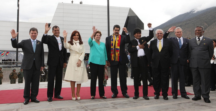 Nicolas Maduro with other South American leaders at the recent UNASUR summit in Quito, Ecuador (presidencia de Ecuador)