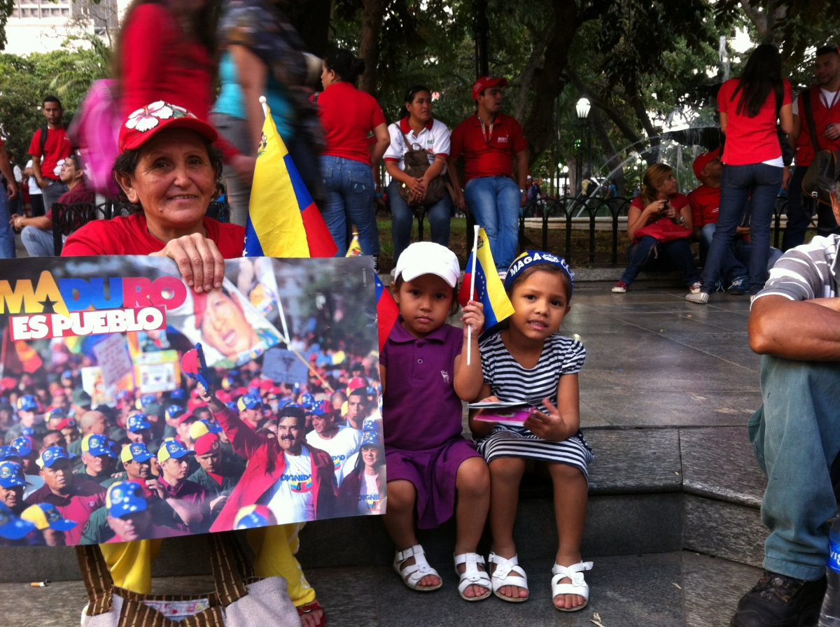 """""""They wanted to come, I didn't make them come today.  They asked me, 'grandma, take us to the Plaza'"""" said a Madruo supporter who brought her 2 granddaughters. (PHOTO: Cory Fischer-Hoffman)"""