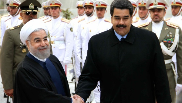 Venezuelan president Nicolas Maduro (right) and Iranian president Hassan Rouhani met in Tehran on Saturday. (TeleSUR)