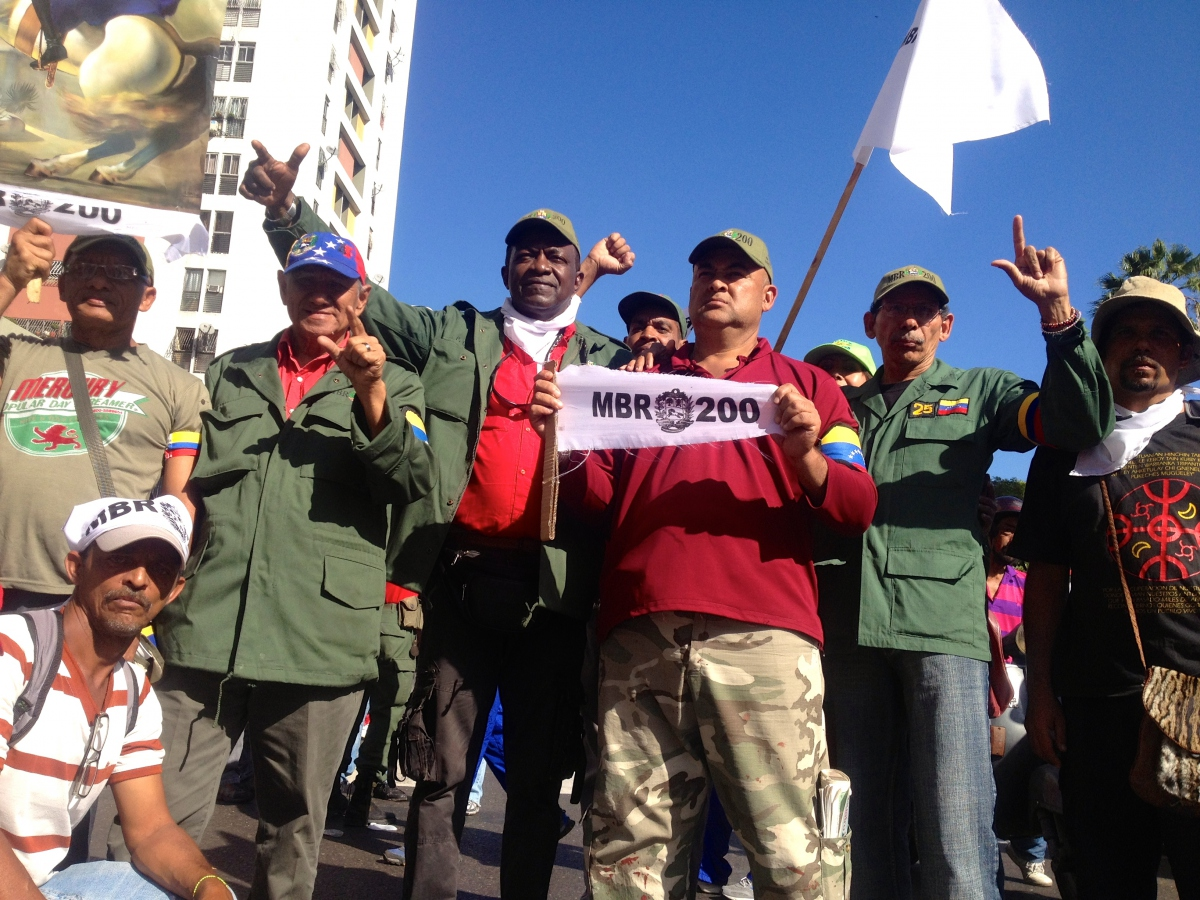 Pedro Cubillon, Coronel and founder of MBR-200, third from left (Rachael Boothroyd - Venezuelanalysis)