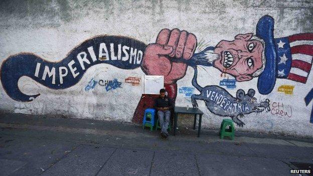 Anti-imperialist graffiti in Caracas. (Reuters)