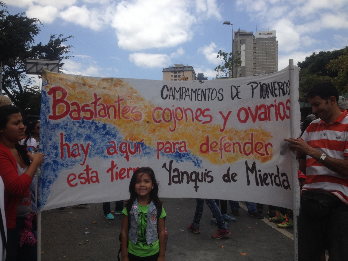 """A lot of balls and ovaries there are here to defend this land. Yankees of shit."" An anti-imperialist refrain inspired by a popular Chávez slogan. (Credit: Lucas Koerner/venezuelanalysis.com)"