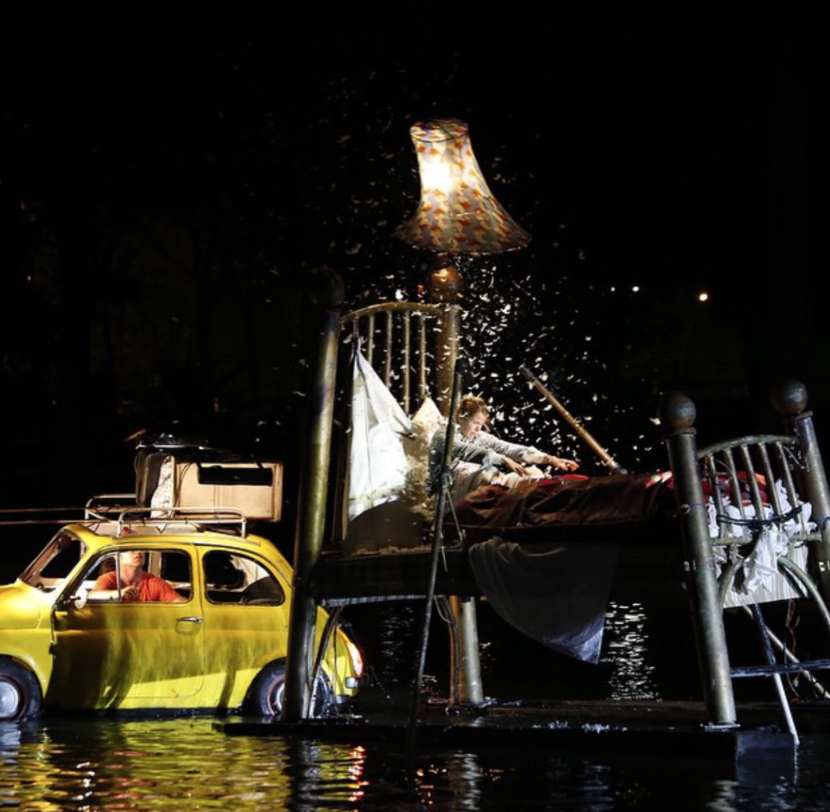 Fous de Bassin in action - circus on top of a lake, well worth the wait! (Fundarte)