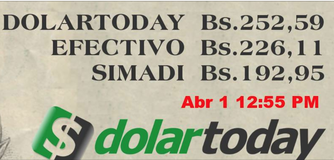 A screen shot of the website's exchange rates: the first one is bolivars per dollar by wire transfer, the second is for cash exchange, and the third reflects the government's free-floating official rate: Simadi.