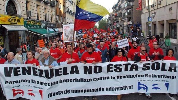 Activists across the globe rallied in solidarity with Venezuela in the face of US aggression. (Credit: Sao Paulo Forum)