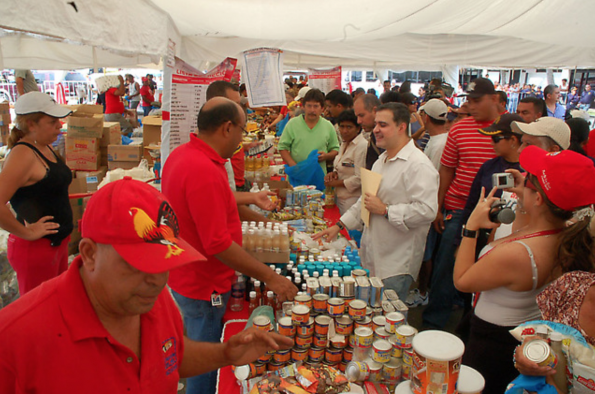 Mision Mercal, the state mission aimed at distributing subsidised food to Venezuela's poorer sectors emerged as a response to the opposition oil lockout of 2002-2003 (Aporrea).