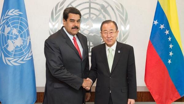 Venezuelan President Nicolas Maudro (L) with U.N. Secretary-General Ban Ki-moon in New York, July 28, 2015. (Photo: United Nations)