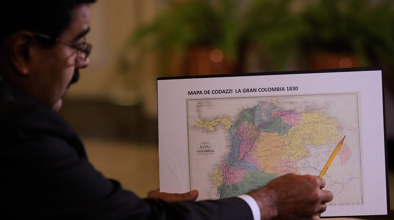 President Nicolas Maduro with historic map of Gran Colombia. (teleSUR)