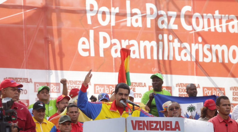 President Maduro speaking at the march against paramilitarism in Caracas.