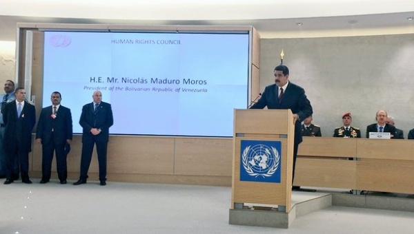Venezuelan President Nicolas Maduro at the UNHRC in Geneva, Switzerland. (@SRodrigoteleSUR)