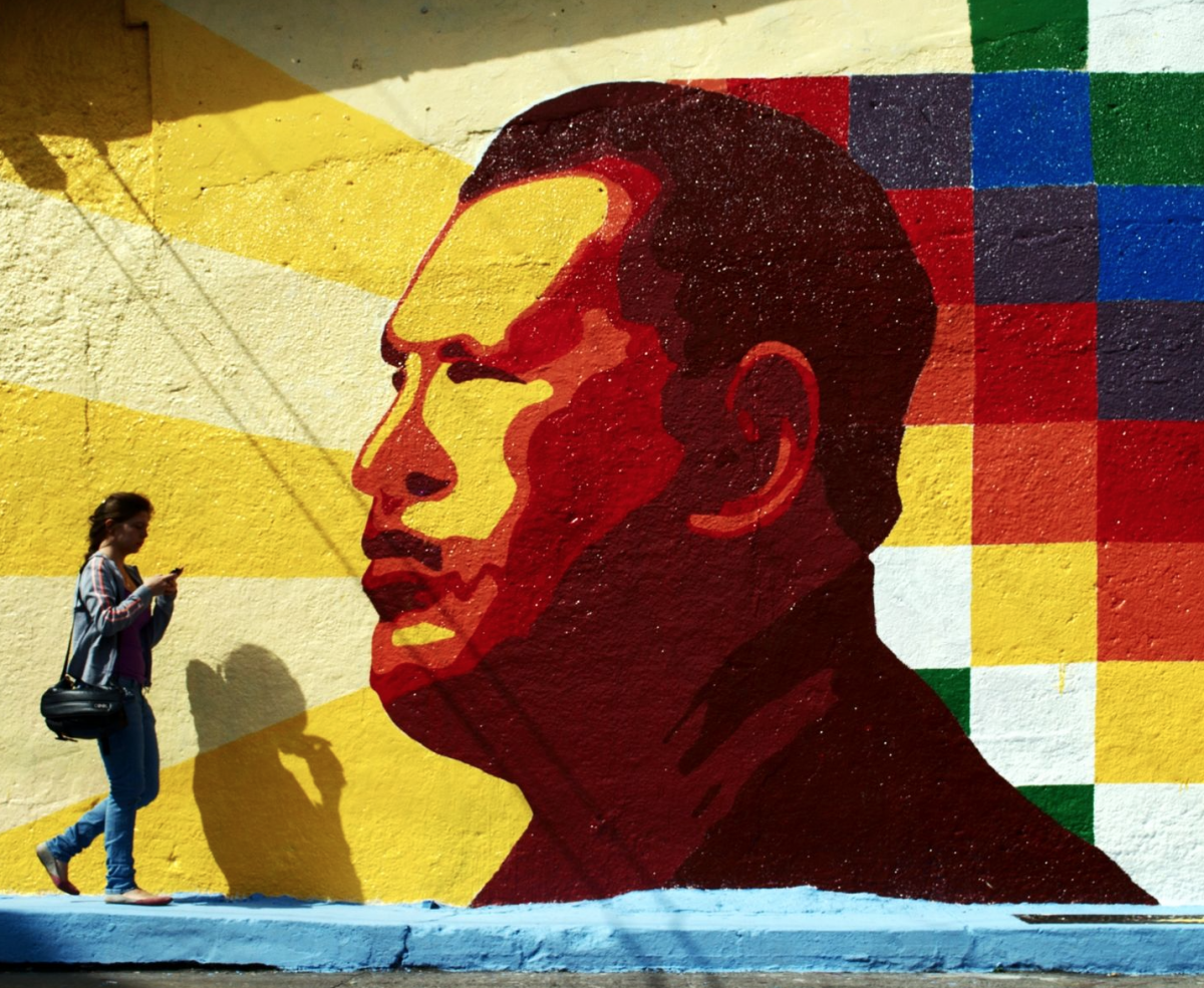 A mural of Hugo Chávez in Mérida. (David Hernández)