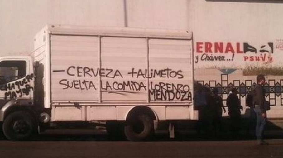 "Photo attached: ""Less beer, more food. Release the food Lorenzo Mendoza!"" (ElNacional)"