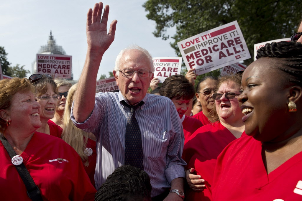 Bernie Sanders at a rally held by National Nurses United in support of his candidacy. (AP Photo/Jacquelyn Martin)