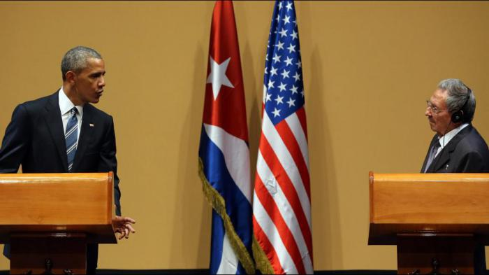 Obama and Castro at a joint press conference in Havana on Monday. (TN.com)