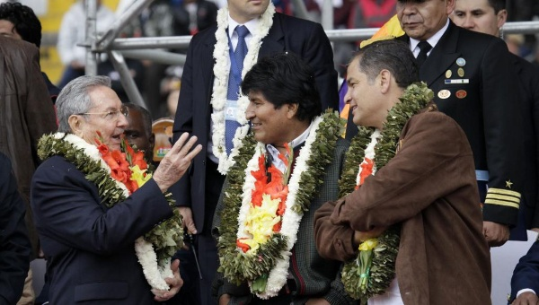 Raul Castro of Cuba, Evo Morales of Bolivia, and Rafael Correa of Ecuador at a G77 meeting (Reuters).