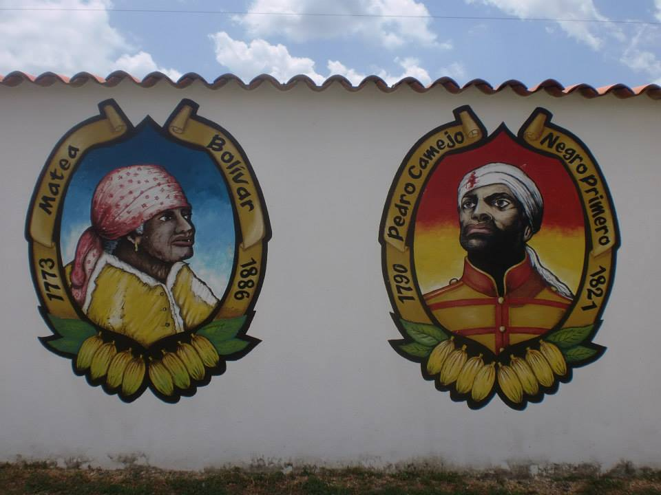 Afro-Venezuelan pre-independence leaders depicted in a mural at a cultural center in Acevedo, Miranda State. (Jeanette Charles)