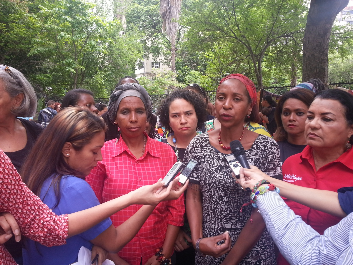 Vice-Minister for Gender Equality and Anti-Discrimination Nirva Camacho speaks with media (Jeanette Charles/Venezuela Analysis).