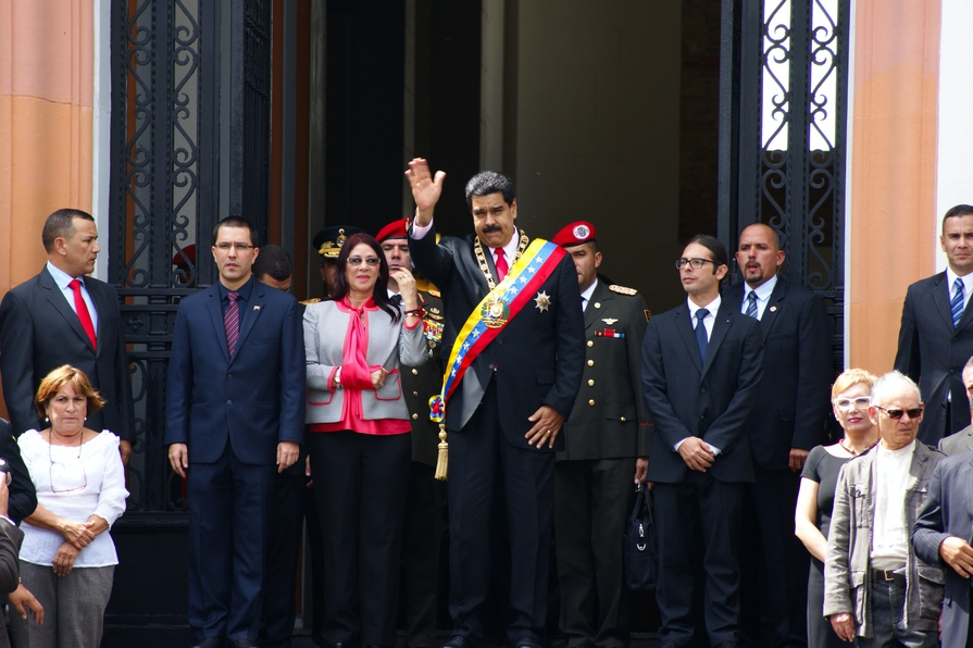 """The act was headed by President Nicolas Maduro (centre) and Minister of Culture Freddy Ñáñez (right of Maduro).  """"Each patriot that enters the National Pantheon is a cultural reference point in the sense that he isn't representing just himself, but rather is a symbol of social processes and organic subjectivities,"""" said the minister. (Jonas Holldack/Venezuelanalysis)"""