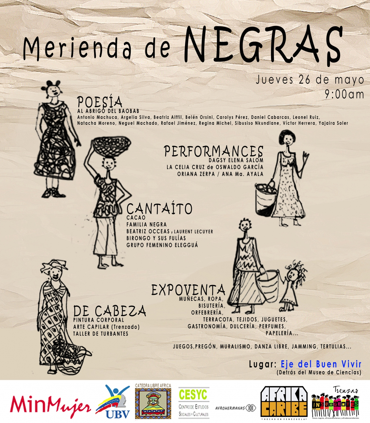 Official poster for Thursday's public events in Caracas (MinMujer).