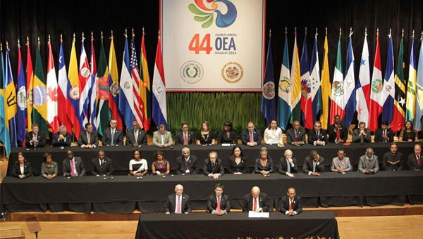 Venezuela could face suspension from the OAS if the regional bloc's head Luis Almagro agrees to call a vote on whether to invoke the democratic charter. (Venezuelan foreign ministry)