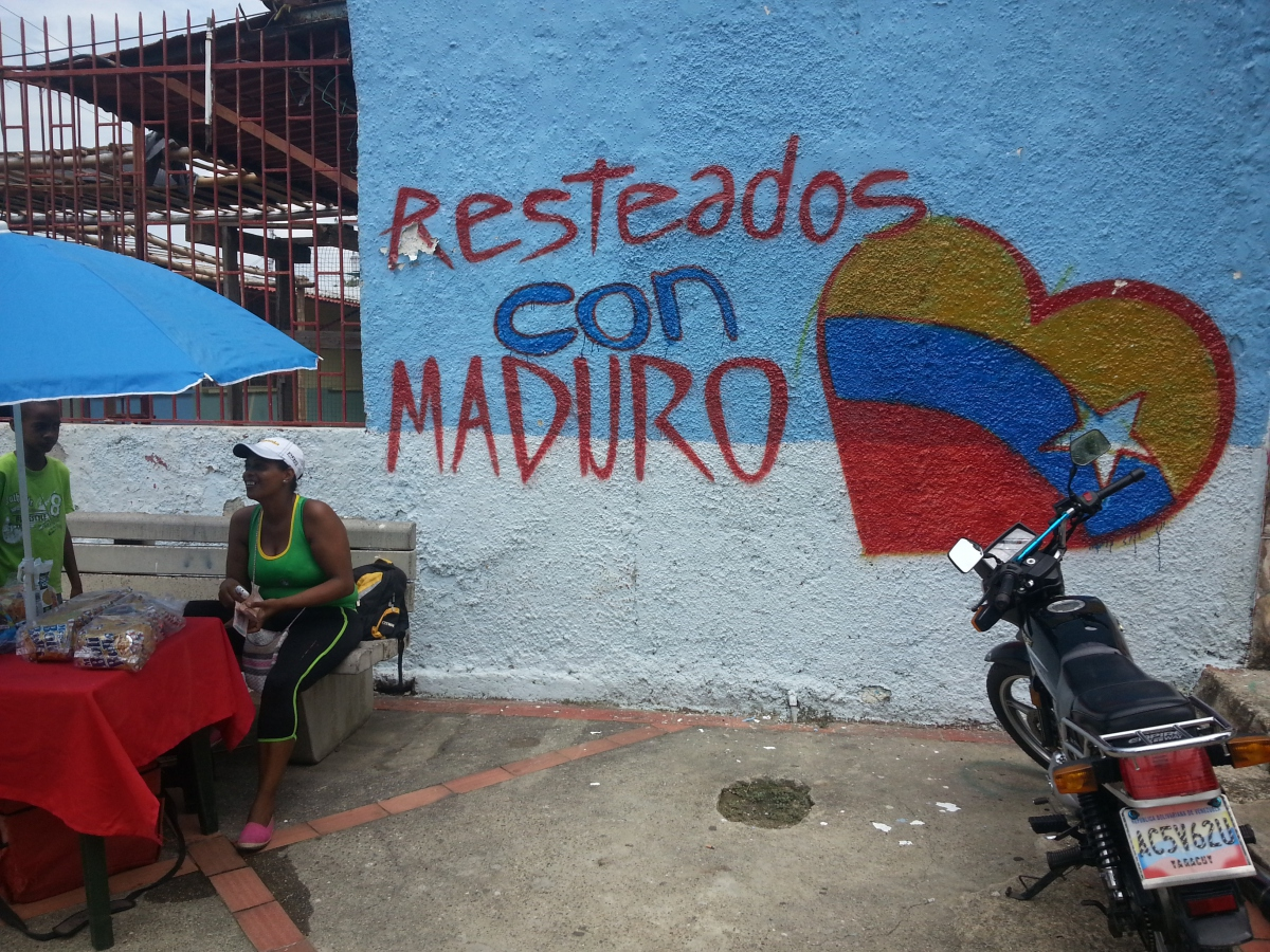 "Political murals adorn  most Venezuelan towns and major cities. In Curiepe, this mural reads: ""We Stand with Maduro"" (Jeanette Charles/Venezuela Analysis)."