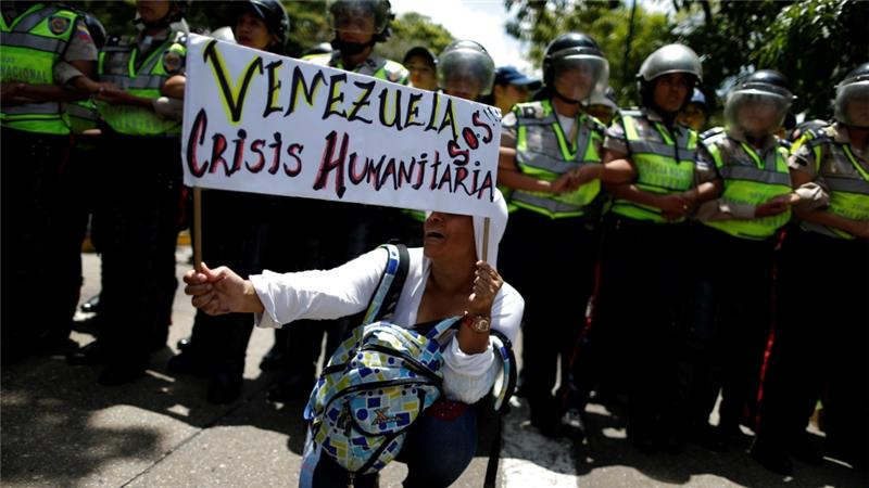 A rally to demand an increase in university funding and against Maduro's government in Caracas, Venezuela. (Reuters)