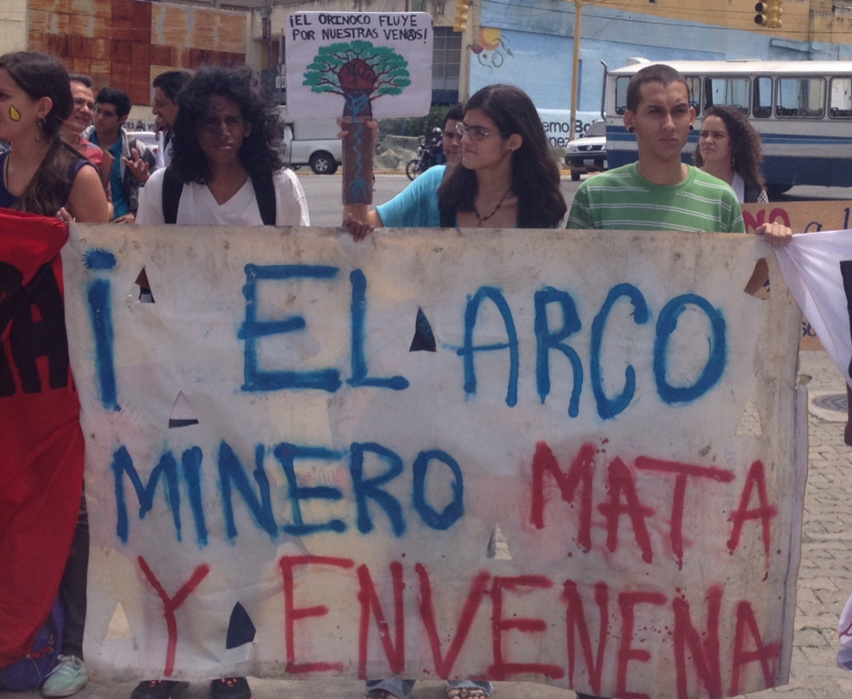 """The Mining Arc kills and poisons"" (banner). ""The Orinoco flows through our veins"" (top sign). (Lucas Koerner/VA)"