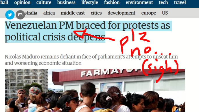 The Guardian reporting on Venezuela's prime minister. (Screen grab by Ryan Mallett-Outtrim/Venezuelanalysis)