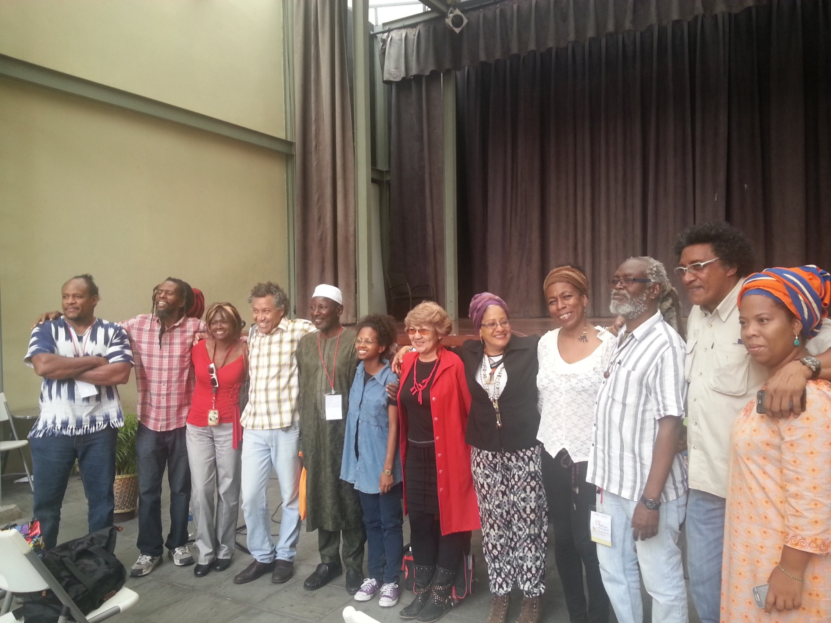 """Poetry for Emancipation"", event at Simon Rodriguez's restored home in downtown Caracas. The event included presentations from members of the Colectivo Bajo el Abrigo del Baobab (Venezuela),  Alhaji Papa Susso (Gambia), Winston Farrell (Barbados) and Melville Cooke (Jamaica).  (Jeanette Charles/Venezuela Analysis)"