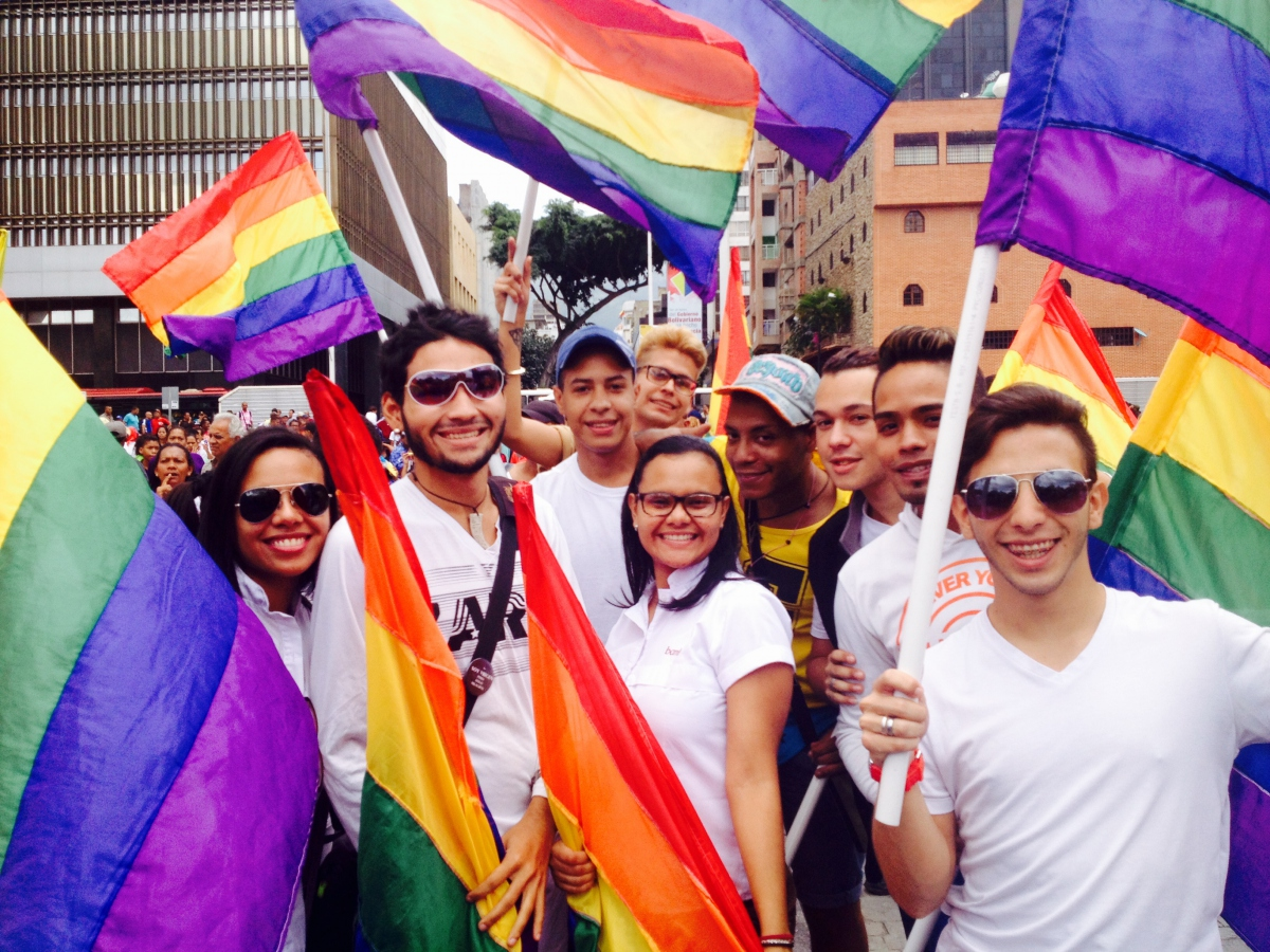 LGBTI groups march together with Afro-Venezuelans in solidarity with the Maduro government. (Lucas Koerner/Venezuelanalysis)