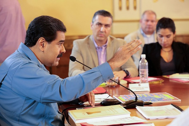 Venezuelan President Nicolas Maduro speaking at a council of ministers meeting on Monday. (Prensa Presidencial)