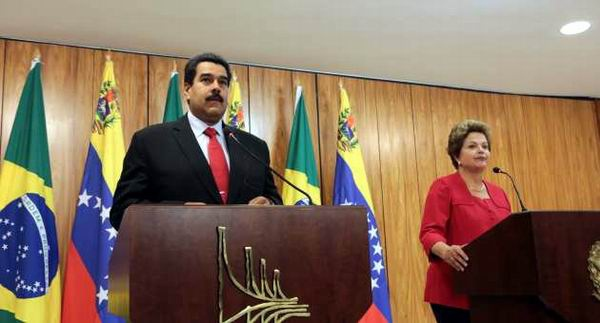 Venezuelan President Nicolas Maduro alongside Brazil's Dilma Rousseff. (AVN)