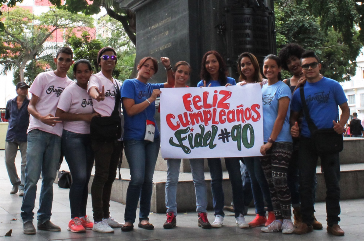 """Happy 90th Birthday Fidel,"" from Venezuela's socialist youth (AVN)."