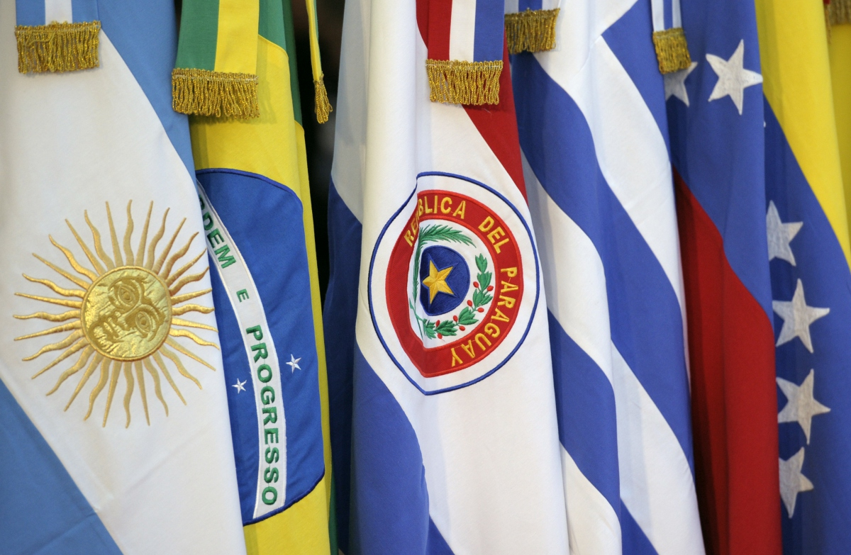 The flags of MERCOSUR's five member-states: Argentina, Brazil, Paraguay, Uruguay, Venezuela. (Archive)