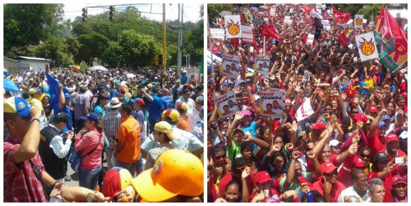 Opposition (left) and Chavista (right) marches documented side by side in Nueva Esparta state on Wednesday (Globovision).