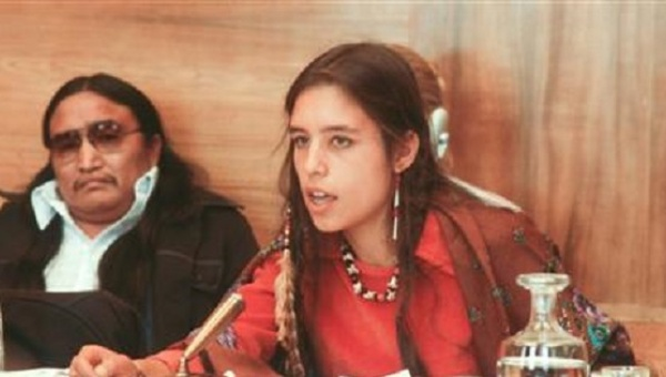 Winona LaDuke addresses a U.N. conference on discrimination against Indigenous populations in the Americas, Geneva, Switzerland, Sept. 1977. (Reuters)