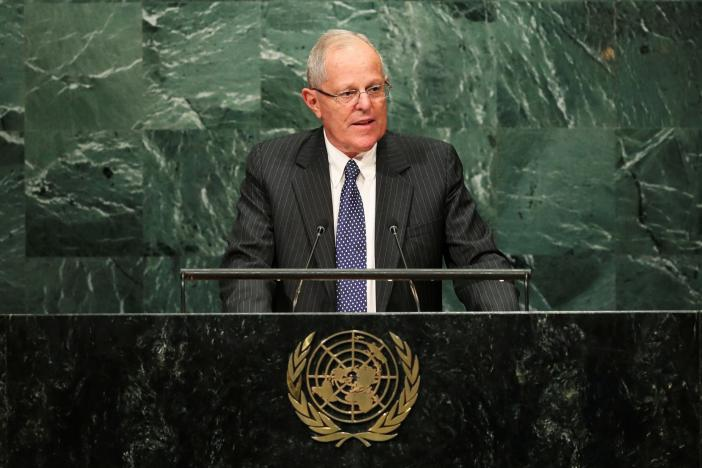 Peruvian President Pablo Kuczynki addresses the UN General Assembly on September 20, 2016. (Reuters/Eduardo Munoz)