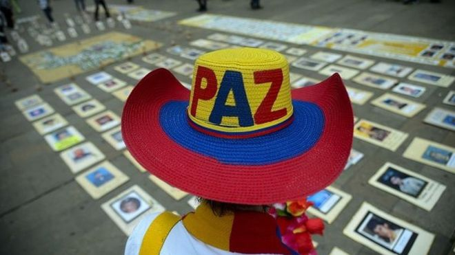 A person attends an event supporting peace in Colombia (Getty Images).