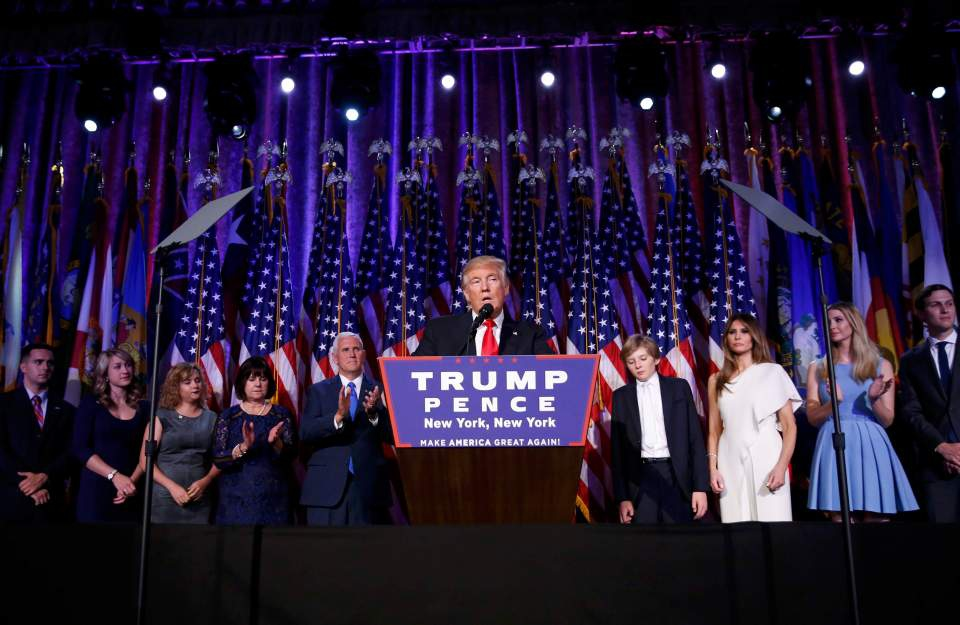Donald Trump during his acceptance speech Tuesday night after the US elections (Reuters).