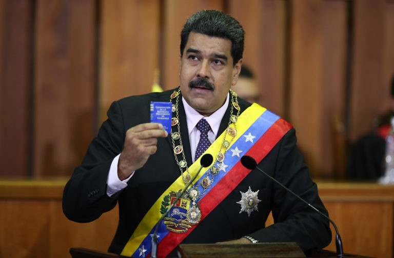 Venezuelan President Nicolas Maduro addresses the Supreme Court for his annual address to the nation. (AVN and Prensa Presidencial)