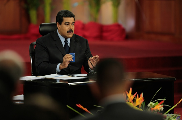 President Nicolás Maduro during Wednesday's press conference at Miraflores Presidential Palace in Caracas. (Presidential Press)