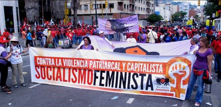Venezuelans march calling for feminist socialism and for a an anti-patriarchal and anti-capitalist society. (Venezuelan Feminist Socialist and Women's Collectives Network)