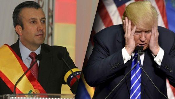 Venezuelan VP Tareck-El-Aissami (left) and US President Donald Trump (right). (TeleSUR English).