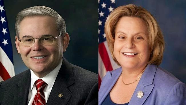 Representative Ileana Ros-Lehtinen (right, R-Florida) and Senator Menendez (D-New Jersey). (Archive)