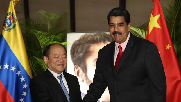 Venezuelan President Nicolas Maduro with Chinese National Reform Commission Vice-President Ning Jizhe. (@PartidoPSUV)
