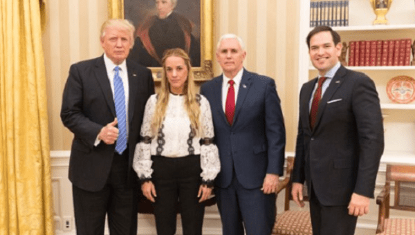 Trump with Tintori, Vice-President Pence, and Senator Rubio (left to right). (@realDonaldTrump)