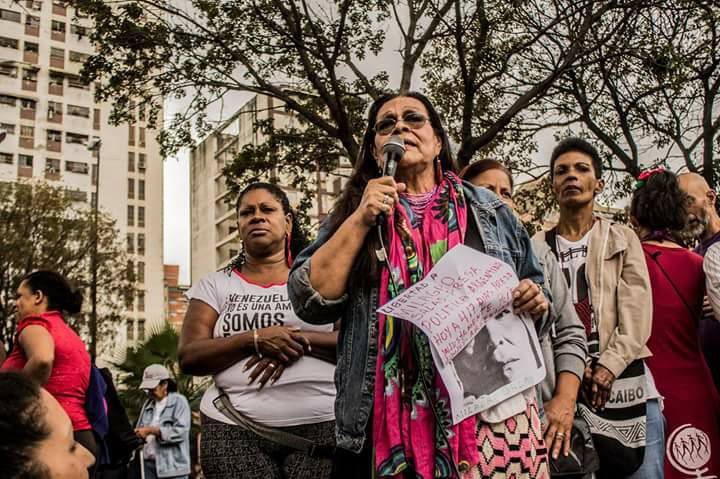 The demonstration outside La Maternidad hospital was organised in conjunction with social movements from the ALBA (Bolivarian Alliance for the Peoples of Our America). Here, an Argentine activist draws attention to the plight of indigenous activist, Milagro Amalia Ángela Sala, head of Argentina's Tupac Amaru social movement. She has been detained by Argentine authorities since January 2016 for organising protests. The United Nations has called for her release. (CausaVenezuela)