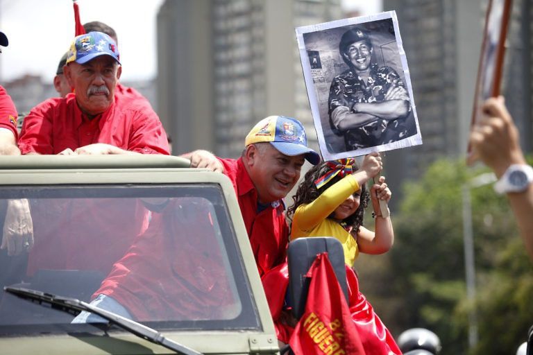 United Socialist Party of Venezuela (PSUV) Vice-President Diosdado Cabello also took part in the parade.